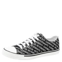 Vetements Black/White Logo Print Canvas Low Top Sneakers Size 42