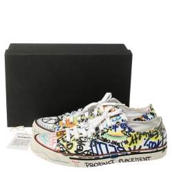 Vetements Multicolor Graffiti Canvas Low Top Lace Up Sneakers Size 41