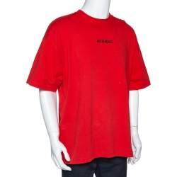 Vetements Orange Cotton Logo Print Oversized T Shirt M
