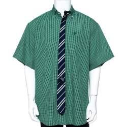 قميص فيتمونت قطن أخضر كاروهات واسع مقاس متوسط - ميديوم