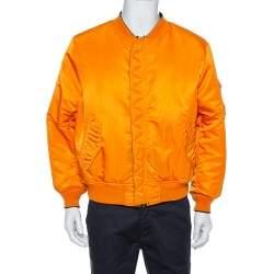 Vetements Black & Orange Synthetic Logo Print Reversible Bomber Jacket XS