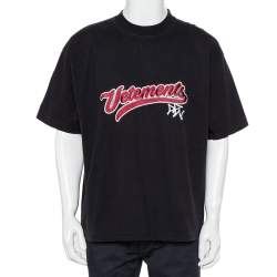 Vetements Black Logo Embroidered Cotton Crewneck Oversized T-Shirt XS