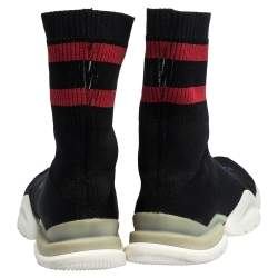 Vetements x Reebok Black/Red Knit Fabric High Top Sock Trainers Size 41