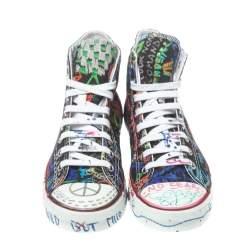 Vetements Black Graffiti Canvas High Top Sneakers Size 40