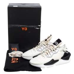 Y-3 Cream/Black Leather and Fabric Kaiwa Sneakers Size 44