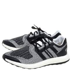 Y-3 Black/White Cotton Knit and Leather Pureboost Sneakers Size 44.5