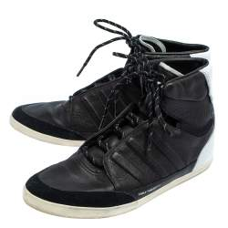 Y-3 x adidas Yojhi Yamamoto Black/White Leather And Suede Honja High Top Sneakers Size 41 1/3