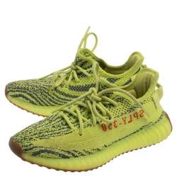 Yeezy x Adidas Cotton Knit Semi Frozen Yellow Boost 350 V2 Sneakers Size 39.5