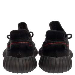Yeezy x adidas Black/Red Knit Fabric Boost 350 V2 Low Top Sneakers Size 42