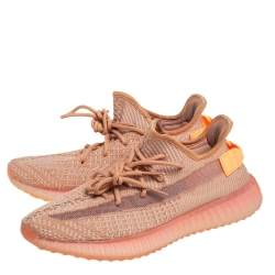 Yeezy x adidas Maple Orange Knit Fabric Boost 350 V2 Low Top Sneakers Size 43 1/3