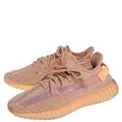 Yeezy x Adidas Beige/Orange Cotton Knit Clay Boost 350 V2 Sneakers Size 41.5