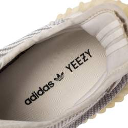 Yeezy x Adidas White/Grey Knit Fabric Boost 350 V2 Static Non Reflective Sneakers Size 44