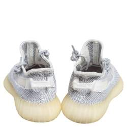 Yeezy x adidas White/Grey Knit Fabric Boost 350 V2 Static Non Reflective Sneakers Size 40 2/3