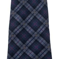 Yves Saint Laurent Navy Blue Plaid Silk Tie