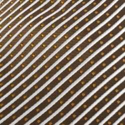 Yves Saint Laurent Light Brown Diagonal Striped Silk Jacquard Traditional Tie