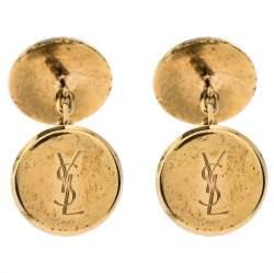 Yves Saint Laurent Gold Tone Round Logo Cufflinks
