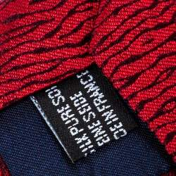 Yves Saint Laurent Red Patterned Silk Tie