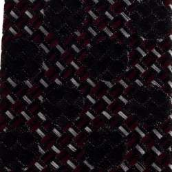 Yves Saint Laurent Black Jacquard Square Tip Silk Skinny Tie