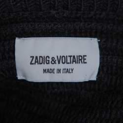 Zadig & Voltaire Black Distressed Knit Merino Wool Jeremy Raye Sweater L