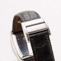 Bedat & Co. No. 7 Silver Dial Mens Leather Watch Black