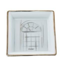 Cartier Porcelain Platinum Finish Mini Trinket Tray