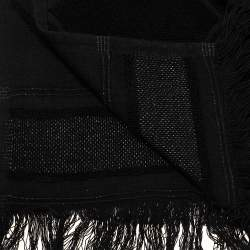 Chanel Black Terry Cotton & Lurex Logo Beach Towel