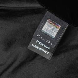 Fendi Black Logo Plaque Detail Velvet Blanket (Available For UAE Customers Only)