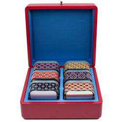 Gucci Red Wooden Storage Box With Metal Box Set Of 6