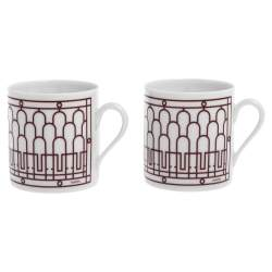 Hermes Rouge H Deco Coffee Cup And Saucer 4-Piece Set