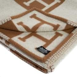Hermes Ecru & Camel Merino Wool Avalon Throw Blanket