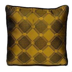 Versace Medusa Yellow & Black Cotton & Velvet Cushion
