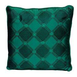 Versace Medusa Green and Black Cotton and Velvet Cushion