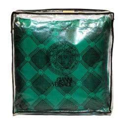Versace Medusa Green and Black Cotton and Velvet Cushion