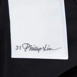 3.1 Phillip Lim Black Draped Key Hole Chiffon Tie Detail Top S