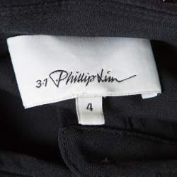 3.1 Phillip Lim Black Silk Embellished Collar Layered Shirt Dress S