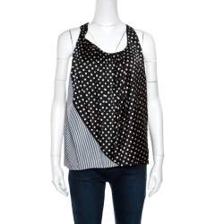 Acne Monochrome Shy Dots and Striped Panel Detail Silk Asymmetric Tank Top L