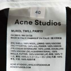 Acne Studios Black Wool Murol Twill Trousers M