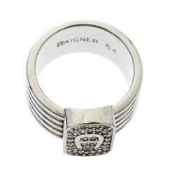 Aigner Crystal Silver Tone Band Ring Size 54