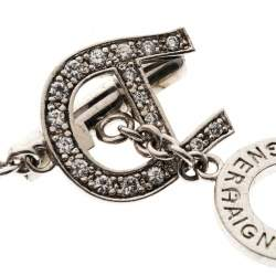 Aigner Crystal Beaded Silver Tone Bracelet