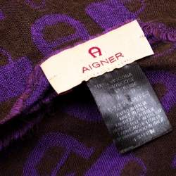 Aigner Brown and Purple Horseshoe Logo and Bag Pattern Jacquard Fringed Scarf