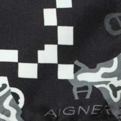 Aigner Black Animal Motif Print Silk Scarf