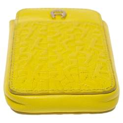 Aigner Yellow Logo Embossed Leather Phone Case