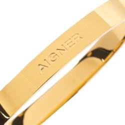 Aigner Dark Green Leather Gold Tone Cuff Bracelet