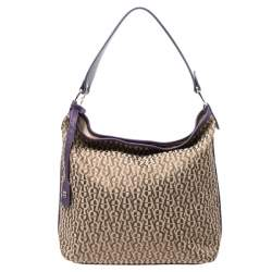 Aigner Beige/Purple Signature Canvas and Leather Hobo