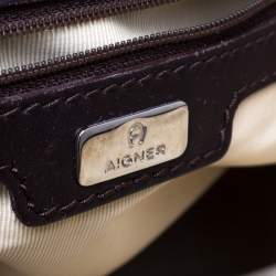 Aigner Brown/Beige Signature Canvas and Leather Satchel