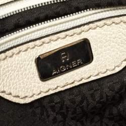 Aigner Beige/Cream Signature Canvas and Leather Satchel