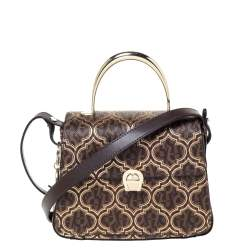 Aigner Brown/Gold Signature Coated Canvas and Leather Genoveva Top Handle Bag