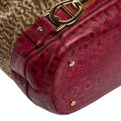 Aigner Pink/Beige Signature Canvas and Leather Zip Satchel