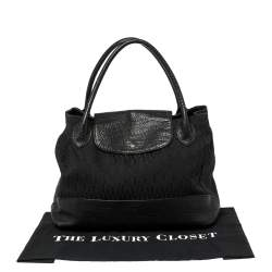 Aigner Black Signature Canvas and Leather Satchel