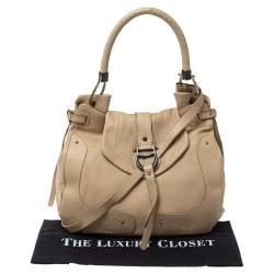 Aigner Cream Leather Logo Buckle Flap Top Handle Bag